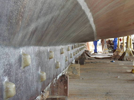 GRP application on dhow's hull